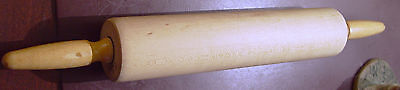 """Vintage Wooden Rolling Pin with Lathe Turned Handles - 17.75"""" Long"""