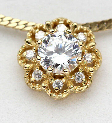 Yellow 18K Gold Sterling Silver CZ Pendant Flower Christmas Gift Cubic Zirconia