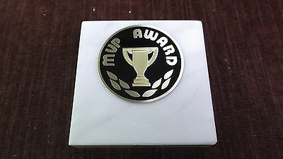 MVP award paperweight marble award metal insert personalized