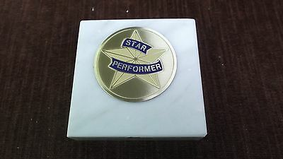 star performer  paperweight marble award metal insert personalized