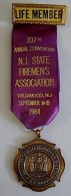 1984 107th Annual Convention NJ State Firemens Assoc Wildwood NJ Medal Ribbon