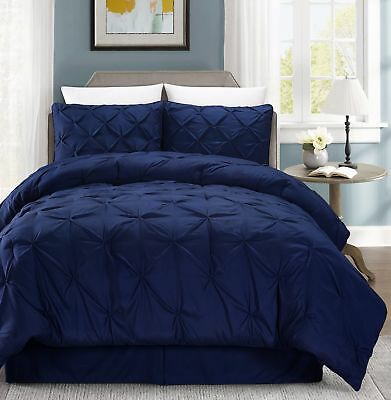 Chezmoi Collection 4-Piece Pinched Pintuck Pleated Comforter Set King, Navy Blue