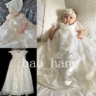 New Baby Robes Baptism Dresses With Bonnet Christening Gowns Girls Boys Custom