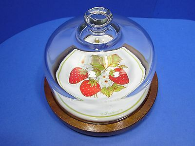Vintage Cheese Tray Server Wood & Glass Dome Cover Lid Goodwood Strawberry Tile