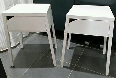 Ikea Selje Pair White Metal Bedside Tables With Drawer Assembled
