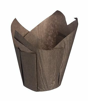 Pack Of 12 Tulip Muffin Cups Cases Cakes Baking Brown Greaseproof Paper
