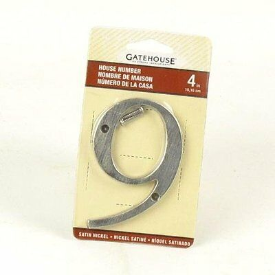 """Gatehouse 4"""" Satin Nickel House Number 9 - Lot of 2"""