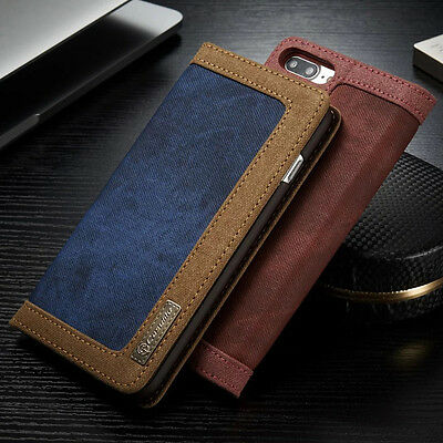Vintage Jeans Leather Magnetic Cover Flip Card Wallet Case For iPhone/Samsung