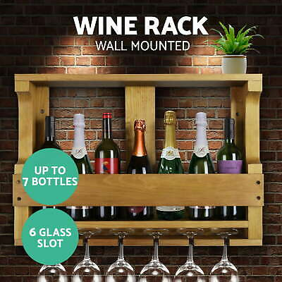 Wine Rack Timber Wall Mounted Bottles Wooden Storage Display Organise Natural