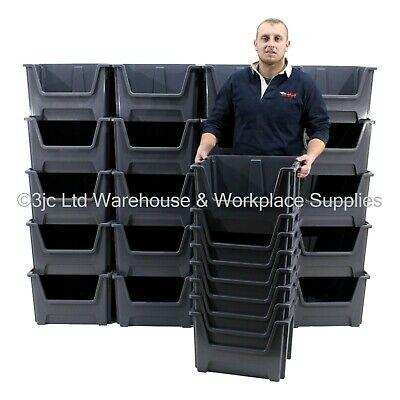 British Made Plastic Order Picking Parts Storage Bins Boxes With  Scooped Front
