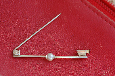 * BROCHE BARRETTE ancienne  OR GRIS 18 K //  PERLE