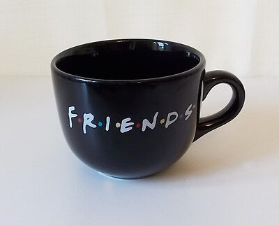 Vtg FRIENDS Logo Black Coffee Mug Big Oversized Cup Warner Bros 1995 NBC TV Show