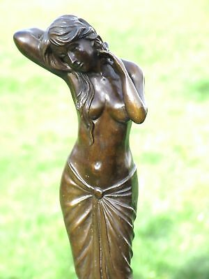 Lovely Art Deco Nouveau Pure Hotcast Bronze Statue Figure See My Other Items
