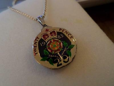 Vintage Enamelled 20 Pence Coin 1983 Pendant & Necklace. Birthday Christmas Gift