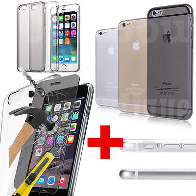 CB CLEAR GEL CASE COVER FOR iPHONE 6S TEMPERED GLASS