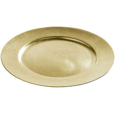 Brand NEW Set Of 6 33cm Decorative Charger Dinner Under Plates - Gold