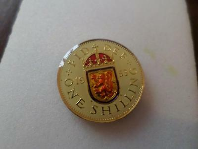 Vintage Enamelled Shilling Coin. Lucky Charm For Birthday Xmas Christmas Present