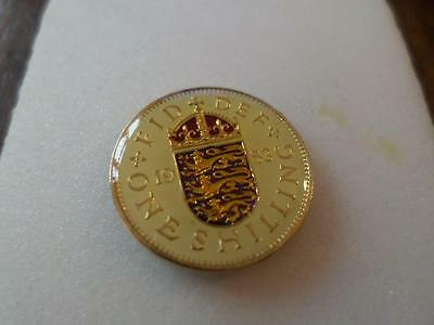 Vintage Enamelled Shilling Coin. Lucky Charm For Birthday Or Christmas Presents