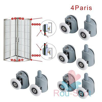 8x Single Sliding Shower Door Enclosures Upper Lower Rollers Runners Wheels 25mm
