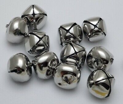 "LOT 250 PLATINUM SILVER JINGLE BELLS ~ 25mm (~1"") Bulk ~ Metal Craft Holiday"