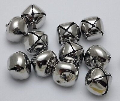 "LOT 1000 PLATINUM SILVER JINGLE BELLS ~ 25mm (~1"") Bulk ~ Metal Craft Holiday"
