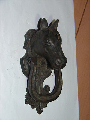 VINTAGE STYLE Horse Head Door Knocker Cast Iron with Horse Shoe -  7.5""