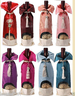 Wholesale 5PCS MIX COLORS CHINESE HANDMADE SUN FLOWER BROCADE WINE BOTTLE COVERS