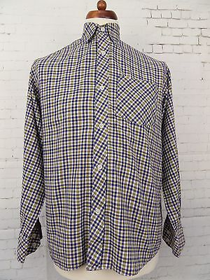Vintage L-Sleeve Blue / Yellow Check Casual Shirt -M- CA87