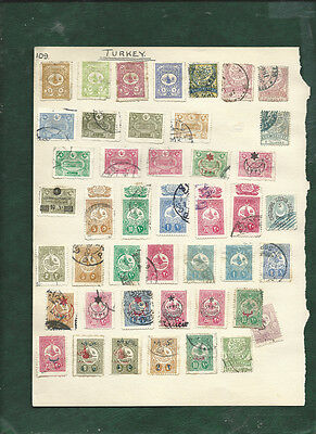 Turkey Ottoman Empire nice page of 44 old used stamps