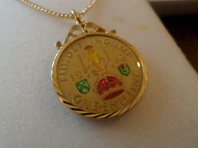 Vintage Enamelled Shilling Coin 1946 Pendant & Necklace. Birthday Christmas Gift