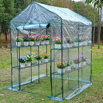 Outsunny 4.7' x 4.7' x 6.4' Greenhouse Plant Flower Tunnel Warm Tent Transparent