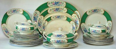 Dinner service 8 person English vintage Allertons plates Tureens green bird bowl