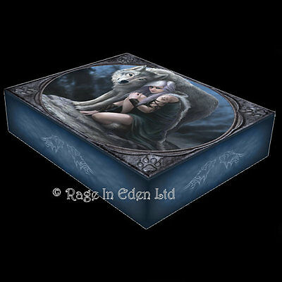 *PROTECTOR* Anne Stokes Wolf Maiden Art Large Jewellery Box With Mirror