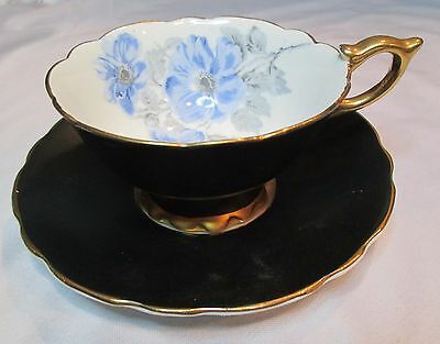 Royal Stafford Bone China England Black with Blue Flowers Gold Trim Cup & Saucer