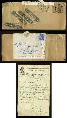 ARP 1943 WVS CIVIL DEFENCE Rochester LETTER Re-use COVER Perfin STAMP Cancelled