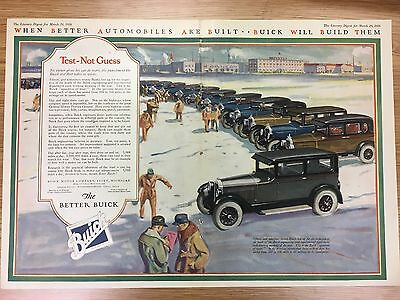 Rare BUICK Colour Double Page Car Advert USA March 20th 1926