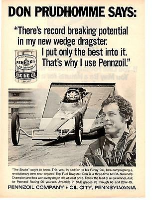 1971 Top Fuel Drag Racing / Don Prudhomme ~ Original Pennzoil Ad