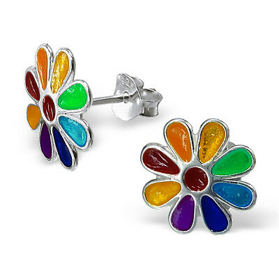 BOXED 925 Sterling Silver Earrings-Rainbow Flower Studs 11mm Quality