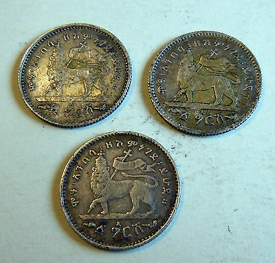 ETHIOPIA - 1902/1903-A Gersh (EE1895)  lot 3 COINS SILVER