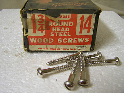 """#14 x 1 3/4"""" Round Head Nickel Plated Wood Screws Slotted Made in USA Qty. 144"""