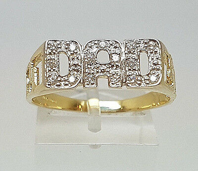 Lovely 9ct Gold Stone Set DAD Ring.  Goldmine Jewellers.