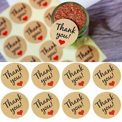 60 Pcs Candy paper tags/Thank You love self-adhesive stickers kraft label sticke