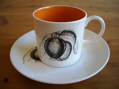Susie Cooper Black Fruit Coffee Cup and Saucer - Peach