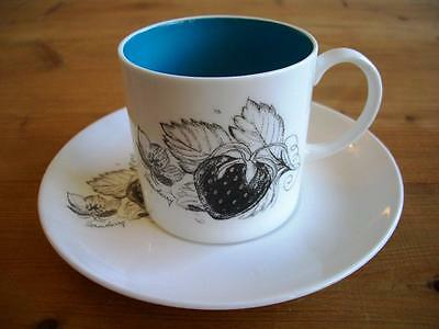 Susie Cooper Black Fruit Coffee Cup and Saucer - Strawberry