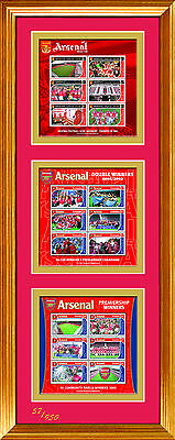 Three Arsenal Stamp Sheets Framed - Grenada - Numbered Limited Edition