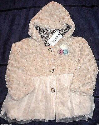 Girls Cream Faux Fur Swirl Hooded Coat Xmas Party Lined Age 4-5 Years BNWT £30