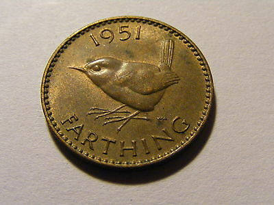1951 George VI Farthing Coin  - Much Luster -