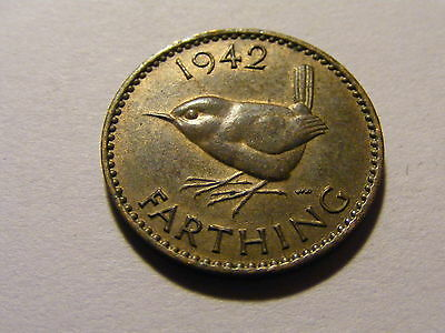 1942 George VI Farthing Coin  - Much Luster -