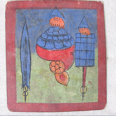 Antique Small Painting Banners Conch Calligraphy On Back Tsakli Thanka Tibet