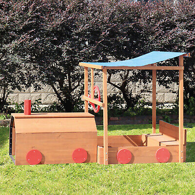 Wooden Train Sandpit with Seats Canopy Tunnel and Cover Treated ChooChoo SandBox